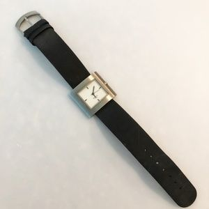 Black Leather Boccia Titanium Watch